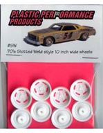 1970's 5 slot Weld-style wheels (molded white) (set of 4 with inner wheels) 1/25