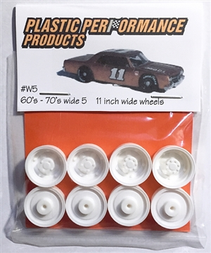 "1960's -1970's Wide 5's 11"" wheels (molded white) (set of 4 with inner wheels) 1/25"