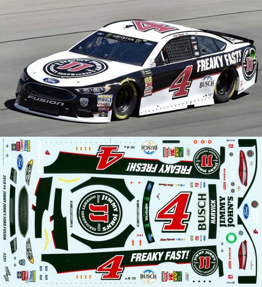 Powerslide Car: Kevin Harvick Jimmy Johns #4 2018 Ford Fusion Decals (1/25