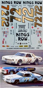 "1976 Benny Parsons Kings Row Monte Carlo #72 Decal (1/25)<br><span style=""color: rgb(255, 0, 0);"">Back in Stock!</span>"