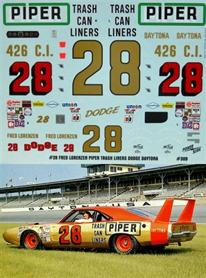 "Fred Lorenzen ""Piper Trash Liners"" 1969 Dodge Daytona #28 Decal (1/25)<br><span style=""color: rgb(255, 0, 0);"">Just Arrived</span>"