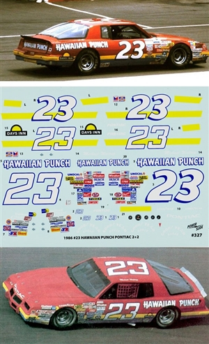 "1986 #23 ""Hawaiian Punch"" Pontiac 2 + 2  Decals (1/24) Missing Header Card"
