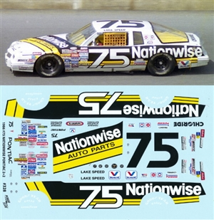 "1986 #75 Lake Speed ""Nationwise"" Pontiac 2 + 2  Decals (1/24)"