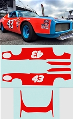 1973 Petty Charger Vermilion Red Powerslide Decals (1/25)