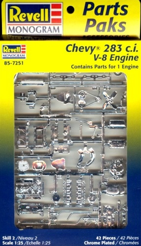 1960's Chevy 283 c.i. V-8 Engine (2 'n 1) Stock or Blown (1/25) (fs)