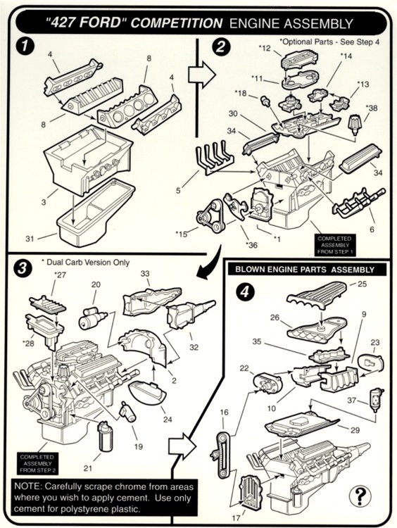 1960's ford 427 c i v 8 engine (2 'n 1) stock or blown (1 25) (fs) 427 engine block numbers 427 engine diagram #31