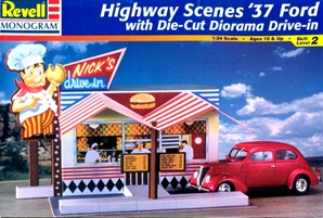 "1937 Ford Sedan Street Rod ""Rt. 66"" with ""NIck;s Drive-IN"" Diorama  (1/24) (fs)"