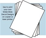 White decal film or decal paper for Laser Printers 8 1/2 x 11 (4 Sheets)
