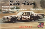 "Bobby Allison's #28 ""Ranier Racing Tuf-Lon"" Chevrolet Monte Carlo 1981 Winner (1/25) (fs) <br><span style=""color: rgb(255, 0, 0);"">Just Arrived</span>"