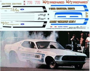 Mickey Thompson's White '69 Mustang FC, 69 Mustang Pro Stock, '64 T'bolt Decals (1/25)