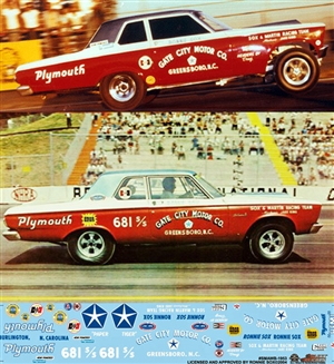 "Sox & Martin 1965 Plymouth AF/X & Super Stock (1/25) Slixx-Decal <br><span style=""color: rgb(255, 0, 0);"">Just Arrived</span>)"
