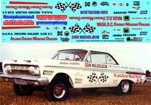 Dyno Don's 1964 Comet AFX Decal (1/25)