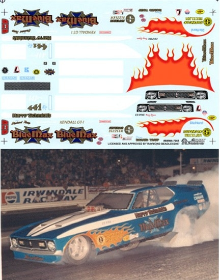 Blue Max Flamed Ram Air Mustang Funny Car Decal 1 25