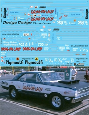 "Shirley Shahan's Drag On Lady '68 Dart & '65 Plymouth Belvedere Decal (1/25) <br><span style=""color: rgb(255, 0, 0);""> Back in Stock!</span>"