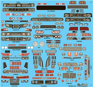 Nostalgia Funny Car Grill & Headlight decals ('60's & 70's) Decal (1/25)