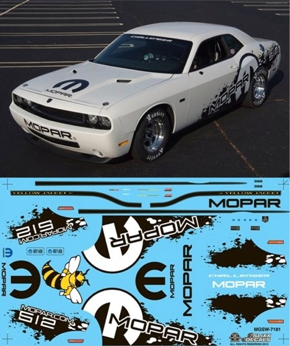 Mopar V10 Drag Pak Challenger Graphics Yellow Jacket (1/25