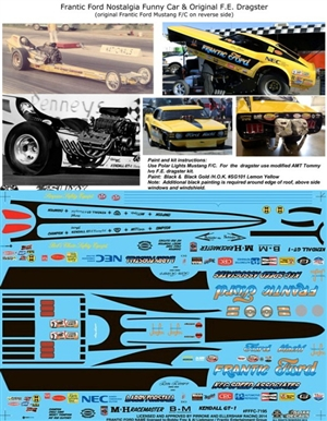 Frantic Ford Nostalgia Mustang Funny Car & Original F/C with F.E. Dragster Decal (1/25)