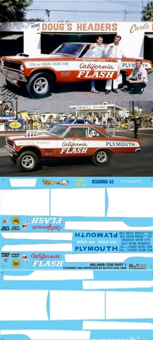 "Butch Leal 1965 Plymouth AF/X ""California Flash""  (1/25) Slixx-Decal <br><span style=""color: rgb(255, 0, 0);"">Just Arrived</span>"