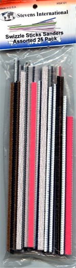 Swizzle Sticks 25 Narrow Sanding Sticks Assorted Grits