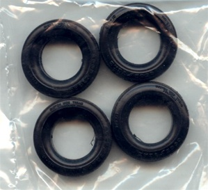 1972 'MPC's popular Goodyear tires - stock 1970's blackwalls last issued in 1972 Blazer kits  (1/25 set of 4)