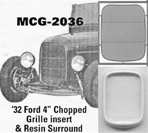 "'32 Ford 4"" Chopped  Grille: includes resin grille surround"