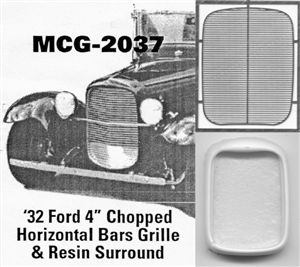 "'32 Ford 4"" Chopped  Grille horizontal bars: includes resin grille surround"