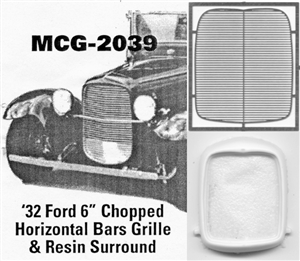 "'32 Ford 6"" Chopped  Grille horizontal bars: includes resin grille surround"