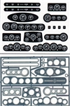 Street Rod Gauge Panels MoonEyes (Clear Faces, Black Background) 1/24 & 1/25
