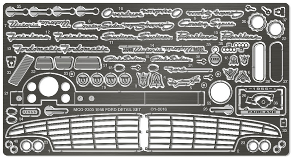 1956 Ford Victoria Photo Etch Detail Set For Amt Kits Back